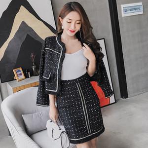 Elegant Ladies Office Party 2 Pcs Set Women Skirt Sets 2018 Autumn Winter Brand Tassel Tweed Woolen Jacket and Skirt Suit Set