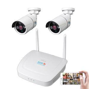 2CH WIFI 무선 CCTV 감시 시스템 키트 1080P NVR IP 보안 카메라 시스템 비디오 감시 키트