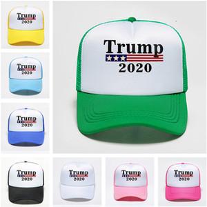 2020 Trump Caps Kappen 17 Farbe Mesh-Patchwork Stern Flagge Baseball-Ball-Kappe Hysteresen Frauen Männer hiphop Cap Abstimmung Wahl Sporthut heiß D22404