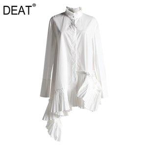 قمصان البلوزات النسائية Deat Fahsion Women Wholesy Downlowy قميص ذوي الياقات البيضاء واحدة برستد مطوي غير متناظرة الإناث بلوزة طويلة WL69400