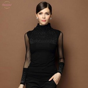 Hot Fashion Autumn Women Sexy Tops Polyester Blusas Slim Lace Solid Long Sleeve T Shirt Casual Shirt Beaded Openwork Clothes Plus Size
