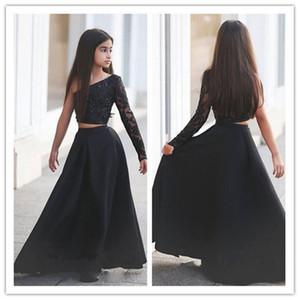 Арабский Said Mhamad Черный одно плечо с длинным рукавом Дети Пром платья Line из двух частей из бисера цветок девочки платья