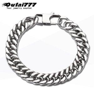 oulai777 pulseira cubano mens de aço inoxidável cadeia de polimento mão acessórios masculinos pulseira homens \ x27s jóias fasion atacado