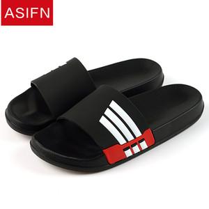 Pantofole da uomo Asifn Summer Beach Maschile Slide Donna Infradito Antiscivolo Sandali da interno per esterno stile a strisce per coppia Soft SH190726