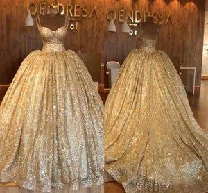 Sweep Tren Spagetti Askı vestidos 15 BC0826 ile Altın payetli Quinceanera Modelleri Dubai Arapça Balo Akşam balo önlük BlingBling