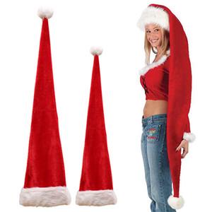 봉제 산타 클로스 모자 새해 크리스마스 파티 장식 크리스마스를위한 성인 어린이 긴 크리스마스 모자