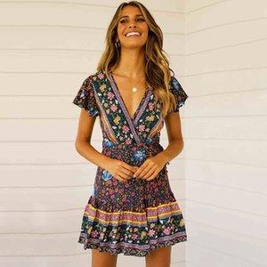 Новые летние платья для женщин с коротким рукавом чешский пляж плиссированное платье V-образным вырезом маятник цветок повседневное платье женская одежда S-XL
