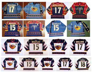 Camisetas de los Atlanta Thrashers vintage 17 Ilya Kovalchuk 15 Dany Heatley 18 Marian Hossa Azul Rojo Blanco Hockey