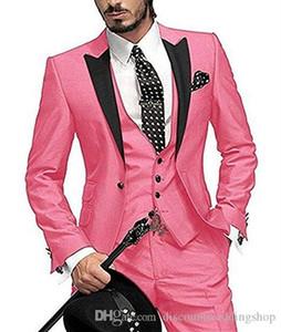 Handsome Groom Tuxedos One Button Dark Green Peak Lapel Men Work Suit Wedding Blazer Coat Party Suits (Jacket+Pants+Vest+Tie) J698