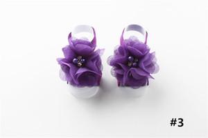 Bebek İlk Walker Ayakkabı Bebek Bebek şifon Su Çiçek Ayak Kemer Seti Sandalet Çiçek Shoes Barefoot Feet Fotoğrafçılık aksesuvar A32003 Matkap