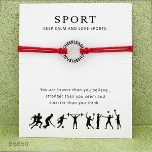 Cheerleader Sports Pulseira com cartão Faça um líder desejo alegria Charme cera corda warp Bangle para mulheres presente jóias homens Moda