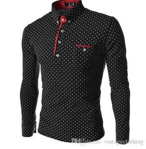Camisetas Vestido Camisas Ajuste Long Mens Manga Tamaño Casual Vestido Polka Polos Camisa de Moda Dot Designer M-3XL BPBJV