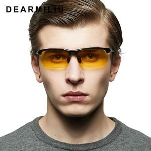 DEARMILIU Aluminum Magnesium Sport Men's Night Vision Goggles Polarized Sunglasses Gold Frame Rimless Glasses oculos For Men
