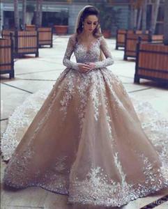 Muhteşem Uzun Kollu Abiye Mahkemesi Tren Dantel Aplikler 2020 Arapça Dubai Pageant Parti Giymek Örgün Balo Abiye Custom Made