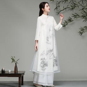 2019 qipao cheongsams largos conjunto vestido tradicional chino flores vestido vintage túnicas orientales cheongsam chino qipao