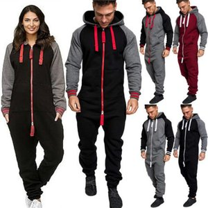 HIRIGIN Unisex Adult Women Warm Winter Clothes Fashion Men Lady Jumpsuit Tracksuit Long Sleeve Hooded Zipper Playsuit Y200706