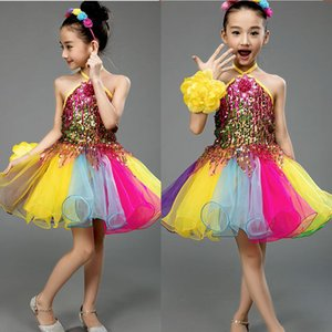Meninas Cor lantejoulas competição Ballroom Jazz Hip Hop Dance Costumes Vestido extravagante crianças vestido desempenho Dança Roupas Ternos