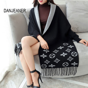 DANJEANER Automne Hiver Poncho long Cardigan Femme manches Batwing Cardigans tricotés femmes Pull Tassel ponchos Cape V-Neck