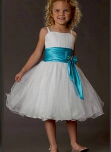 Wedding Party Events Kids Formal Wear Flower Girls Dresses For Weddings fine Straps Knee Length Bow Pageant Dress