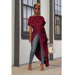 Camisetas mujeres atractivas de Split tapas largas sólido trasero largo corto delantero forman la blusa de manga corta irregular