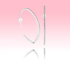 diamant simple CZ crochet d'oreille Boucles d'oreilles femmes Bijoux partie avec la boîte originale pour Pandora 925 ensembles en argent sterling
