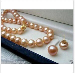 set di 9-10mm south sea round gold pink pearl necklace earring 14k