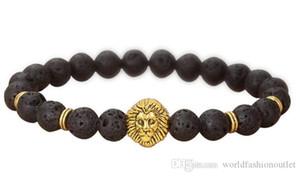 Hot Natural Turquoise Howlite Stone Buddha Mens Womens Beaded Black Scrub Onyx Agate Lava rock Chains Lucky Bracelet Strands Fashion Jewelry