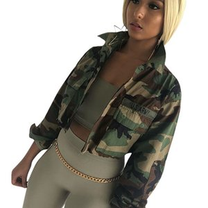 2018 Spring Autumn Women's Vintage Camouflage Army Green Jacket Turn-down Slim Casual fashion Button pocket female Bomber Coats Outwear