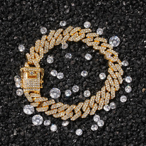 Wholesale Iced Necklace Out Chain 12MM Bracelet Jewelry Mens Bling Diamond Hop Luxury Designer A0137 Women Bracelets Hip Rapper Chains Offr