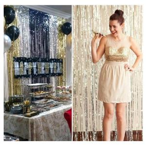 1 * 2 M 1 * 3M Goldrosa Regenbogen Sequin Kulisse Foil Fringe Tinsel Curtain-Geburtstags-Party Regen für Hochzeit, Jubiläum Dekoration Wand Geschenk