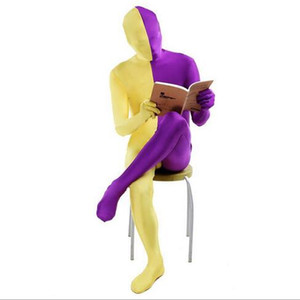 Sexy man skinny catsuit costumes male patchwork color spandex bodysuit zentai Jumpsuits cosplay plus size S~3XL