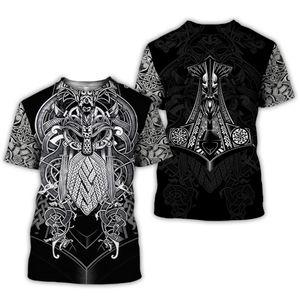 2020 New summer Fashion Viking tattoo t shirt men shirt Viking Odin 3D Printed Funny t-shirt Harajuku Casual street tee tops Y200601