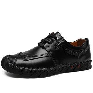 Shoes Men Flat Leather Shoes Lace up Bullock Rubber Big Size Outdoor work Light fashion Black leather men big size