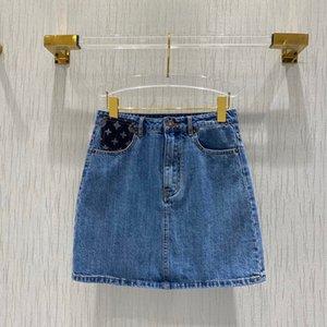 Exclusive 2020 Trend Летняя коллекция высокого качества Luxury Brand французский Париж Дизайнер Повседневная стильная модная Monogram Denim юбка