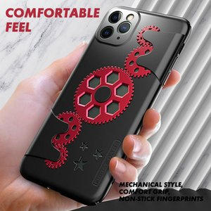 Ultra Thin Slim Hard PC Back Cover for IPhone X 11 Max Huawei P30 P20 Mate30 mate20 Mechanical Gear Shockproof Anti-fall Phone Case