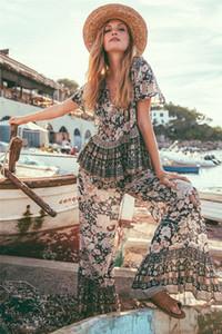 Geniş Tasarımcı İki Adet Pantolon Moda Çiçek Baskı Suits Casual Kısa Kollu Üst Bacak Pantolon Womens