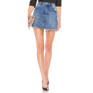 2019 Moda Casual Vintage Cep Patchwork Püskül Kenar Düğme A-line Jupe Femme Kadınlar Mini Etek ile Jeans Yıkanmış