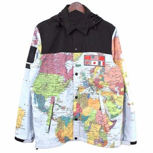 Mens Fashion Jacket Jacket Vestuário Homens Mulheres mapa impresso Inverno Mens Stylist Jacket Mens Stylist inverno casacos tamanho M-XXL