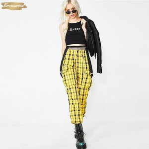 For Yellow Loose Trousers New Women Streetwear Sweatpants Plaid High Waist Zipper Fly Zippers And Strap Casual Harem Pants