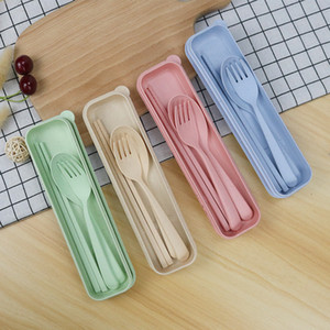 Portable Wheat Straw Tableware Spoon Fork Chopsticks Set Tablewares 4 Colors Reusable Travel Camping Cutlery Set KHA147