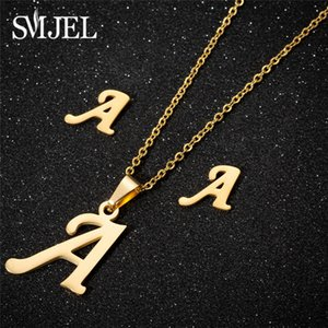 SMJEL Tiny Initial Letter Earrings Stainless Steel Personalized A-Z Alphabet Stud Earings Everyday Jewelry Bridesmaids brincos
