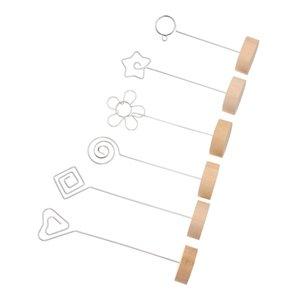 7Styles 1 PC Round Home Decor Iron Message Folders Card Card Holder Voto Clip Wooden Picture Frame Or زخرفة سطح المكتب