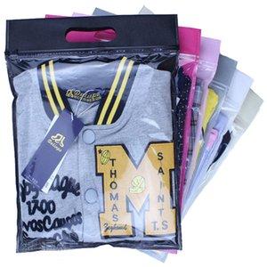 50 pezzi cerniera superiore vestiti sacchetto di plastica cursore sacchetto a chiusura zip con logo non tessuto manico personalizzato stampa non tessuto pieghevole Shopping Bag