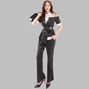 Hamaliel Verão Calças formais Suits Mulheres Striped Patchwork Alças Turn Down colarinho da camisa + Suits Trabalho alargamento completa Pant