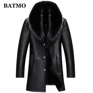 BATMO 2018 new arrival winter high quality real leather  fur collars trench coat men ,men's winter Wool Liner parkas AL18