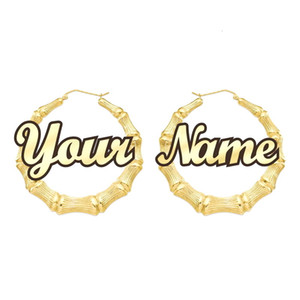 تخصيص تخصيص اسم أقراط الخيزران نمط أقراط هوب مخصصة مع بيان الكلمات CJ191116