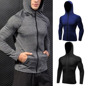 Yeni Stil Erkekler Hoody Kazak Coat Top Running Hoodie Ceket Casual Spor Spor Egzersizi Zip
