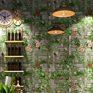 sfondo di foglia mattone 3D decorazione carta da parati Book Shop luogo di intrattenimento ristorante PVC verde fresco retrò edera murale carta da parati