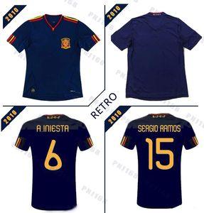 2010 rétro Espagne Fernando Torres Alonso Sergio Ramos Iniesta Retro Soccer Jerseys 10 T-shirts classiques Chemise de football Vintage Camiseta Maill