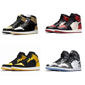 Novo Designer Chicago Cristal 1 Sapatos Mens 1S Og Mid Sport Um tênis Mandarin Duck patente tênis sapatos casuais Treinadores Rookie do ano